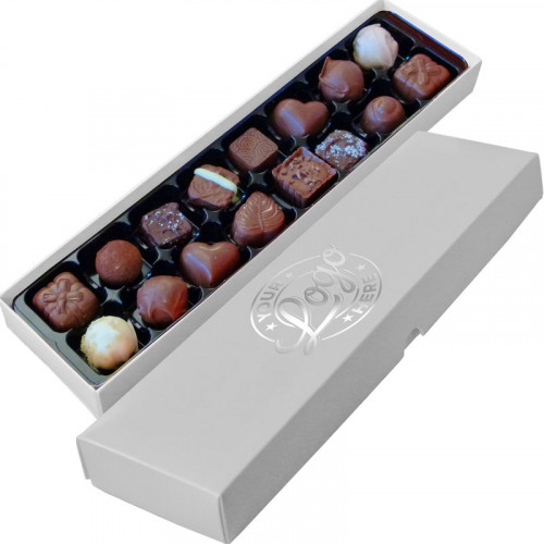 Promotional - 16 Chocolate Assortment Presented in a White Box Finished With a Single Colour Foil Print on Lid