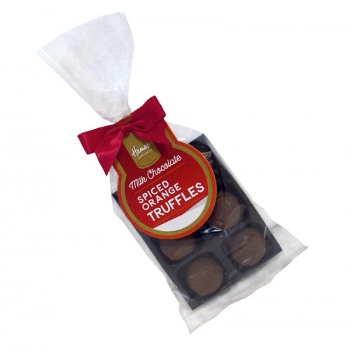 Festive Stag - 6 Spiced Orange Milk Chocolate Truffle Bag Finished with Red Twist Tie Bow, Swing Tag