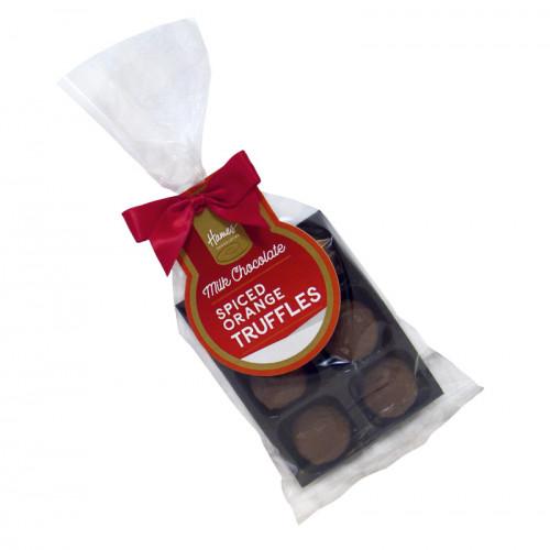 Festive Stag - 6 Spiced Orange Milk ChocolateTruffle Bag with Red Twist Tie Bow & Swing Tag