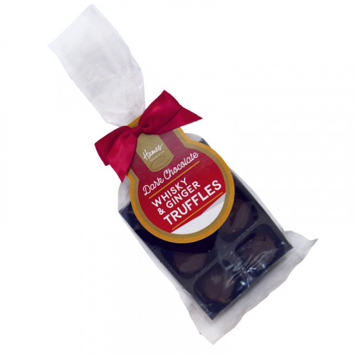 Festive Stag - 6 Whisky & Ginger Flavour Dark Chocolate Truffle Bag Finished with Red Twist Tie Bow & Swing Tag