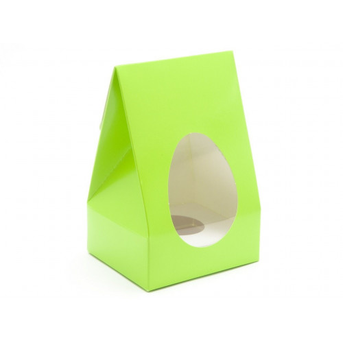 Small - Easter Green Tapered Easter Egg Carton with White Plinth and PVC Window 100mm x 85mm x 159mm