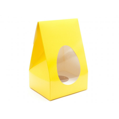 Small - Sunshine Yellow Tapered Easter Egg Carton with White Plinth and PVC Window 100mm x 85mm x 159mm