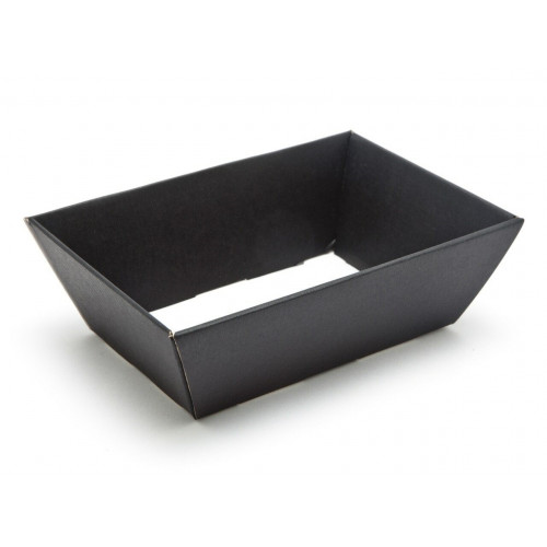 Small Black Elegant Texture-Embossed Matt Finish Card Hamper Tray 70mm (D) - 200 x 128mm at Top Tapering to 154 x 94mm at the Bottom