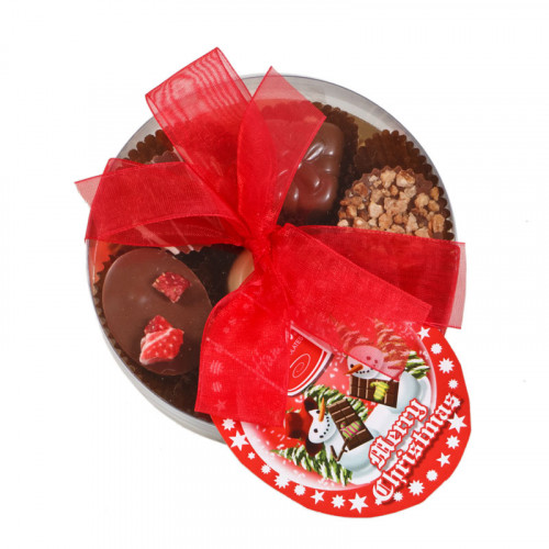 Christmas Snow Globe - Clear Boxed Chocolate Assortment (Small) 100g Finished with a Beautiful Hand Tied Red Ribbon & Swing Tag