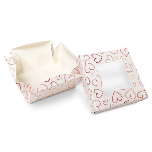 Small Patisserie Cake Box with Heart Design - Single Wall Base & Fold-Up Window Lid 100mm x 100mm x 60mm