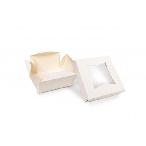 Small Plain White Patisserie Cake Box - Single Wall Base & Fold-Up Window Lid 100mm x 100mm x 60mm Self-assemble