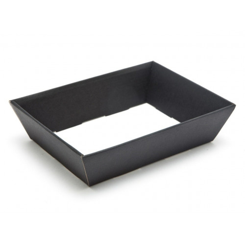Small Shallow Black Elegant Texture-Embossed Matt Finish Card Hamper Tray 45mm (D) -180 x 126mm at Top Tapering to 148 x 102mm at Bottom