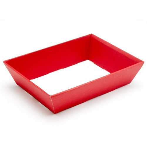 Small Shallow Red Elegant Texture-Embossed Matt Finish Card Hamper Tray 45mm (D) -180 x 126mm at top tapering to 148 x 102mm at the bottom