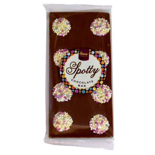 Hames - Luxury Spotty Bars Milk Chocolate Bar Decorated with White Chocolate Snowies 92g  x Outer of 16