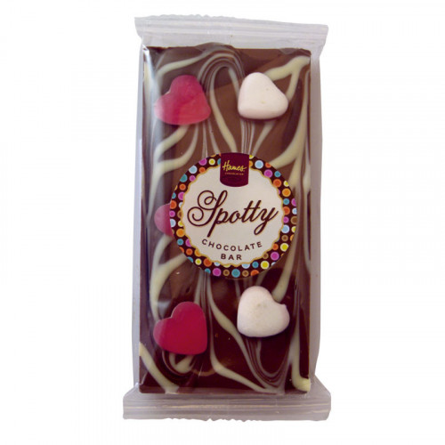 Hames - Luxury Spotty Bars Milk Chocolate Bar Decorated with White Chocolate & Jelly Hearts 101g  x Outer of 16