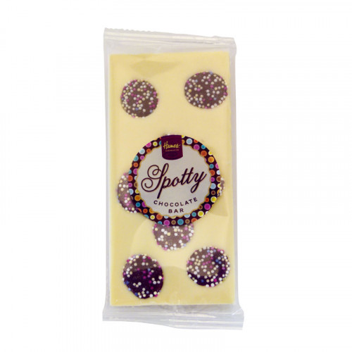 Hames - Luxury Spotty Bars White Chocolate Bar Decorated with Milk Chocolate Jazzies 94g  x Outer of 18