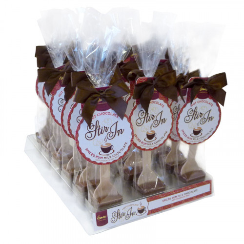 Hames - Milk Chocolate with Spiced Rum Flavouring Hot Chocolate Stirrer 35g Brown Twist Tie Bow & Swing Tag x Outer of 18
