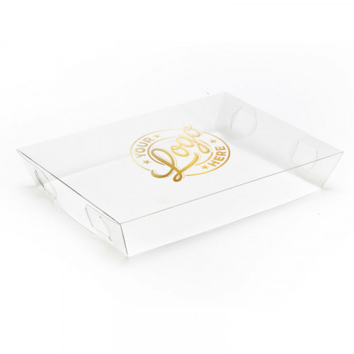 Personalised Single Colour Printed Clear Transparent Lid to Fit Small Shallow Hamper Box 180 x 126 x 31mm