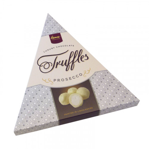 Hames - Luxury Triangular Truffle Box - White Chocolate Truffle Infused with Prosecco Flavour 120g x Outers of 6
