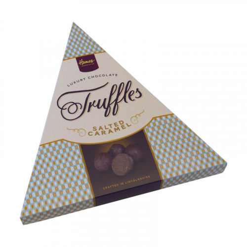 Hames - Luxury Triangular Truffle Box - Milk Chocolate Truffle Infused with a Salted Caramel Flavouring 120g  x Outer of 6