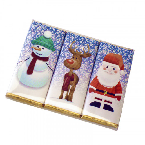 A Very Woolly Christmas - Trio Pack of Three 50g Christmas Themed Knitted Characters Milk Chocolate Bars Wrapped in Gold Foi