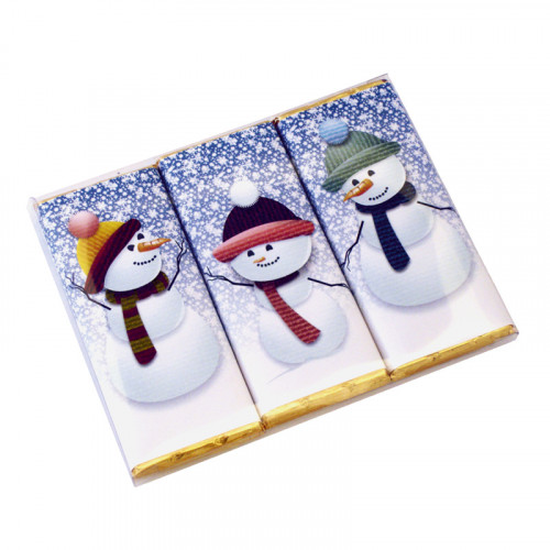 A Very Woolly Christmas - Trio Pack of Three 50g Christmas Themed Snowman Knitted Characters Milk Chocolate Bars Wrapped in Gold Foil