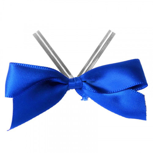 Blue Satin Twist Tie Bow 65mm Span x16mm Ribbon Tails