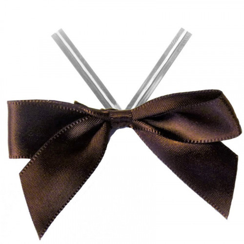 Brown Satin Twist Tie Bow 65mm Span x16mm Ribbon Tails