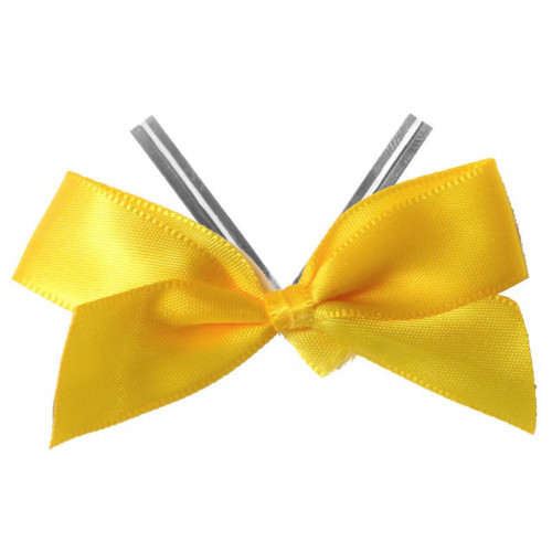Daffodil Yellow Satin Twist Tie Bow 65mm Span x16mm Ribbon Tails