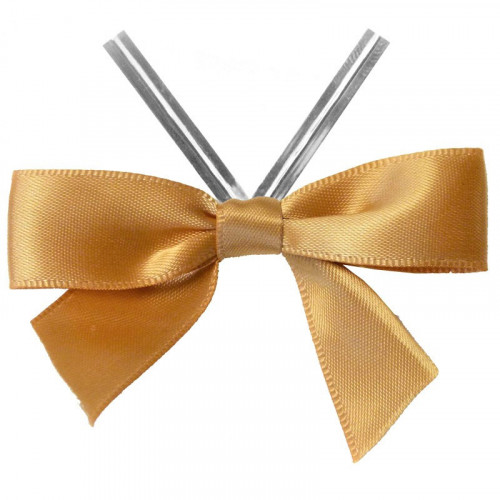 Gold Satin Twist Tie Bow 65mm Span x16mm Ribbon Tails