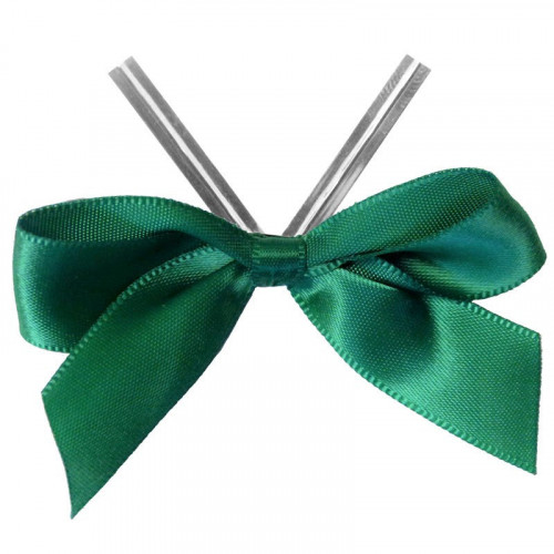 Forest Green Satin Twist Tie Bow 65mm Span x16mm Ribbon Tails