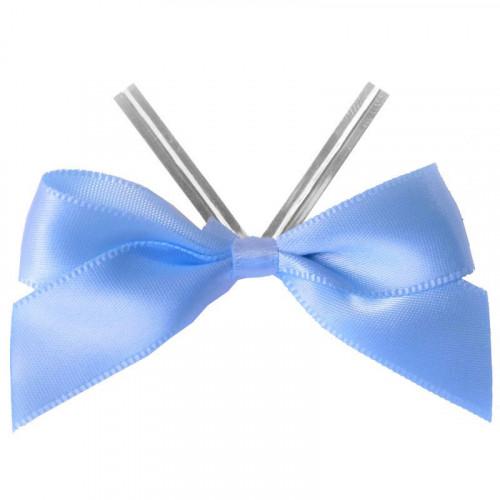 Baby Blue Satin Twist Tie Bow 65mm Span x16mm Ribbon Tails