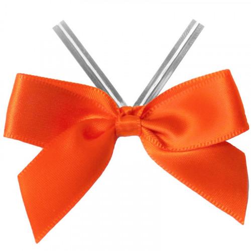 Orange Satin Twist Tie Bow 65mm Span x16mm Ribbon Tails