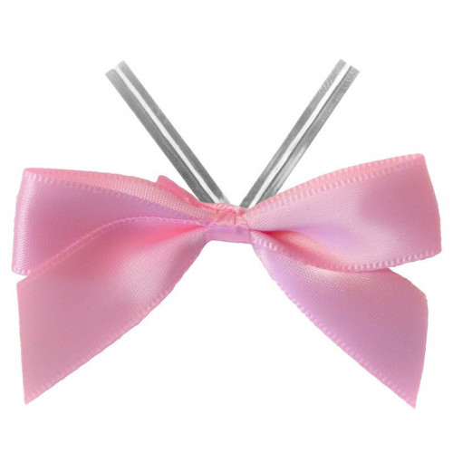 Baby Pink Satin Twist Tie Bow 65mm Span x16mm Ribbon Tails