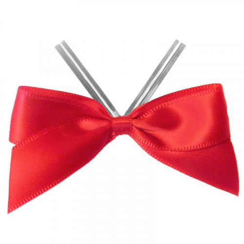 Red Satin Twist Tie Bow 65mm Span x16mm Ribbon Tails