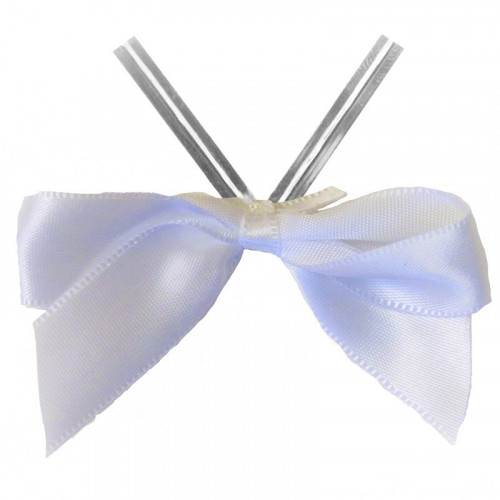 White Satin Twist Tie Bow 65mm Span x16mm Ribbon Tails