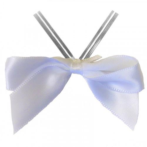 White Satin Twist Tie Bow 65mm Span x16mm Ribbon Tails