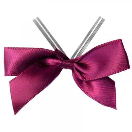 Maroon Satin Twist Tie Bow 65mm Span x16mm Ribbon Tails