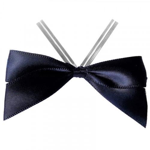 Black Satin Twist Tie Bow 65mm Span x16mm Ribbon Tails