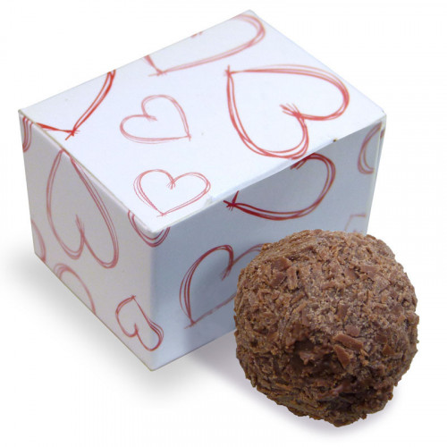 Valentine - 1 Milk Chocolate Flaked Truffle Presented in a White Ballotin Finished With a Red Heart Design