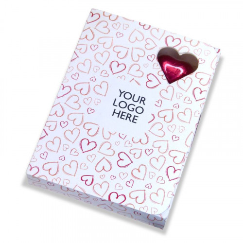 Valentine - 6 Red Foiled Milk Chocolate Heart Presented in a White Box Card Printed With a Red Heart Design