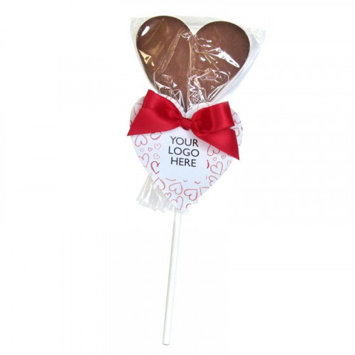 Valentine - Milk Chocolate Lollipop Finished with a Red Twist Tie Bow Finished with a Red Heart Design Happy Valentine Swing Tag