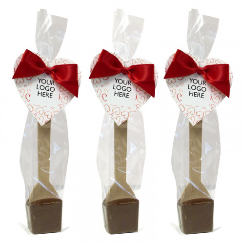 Valentine - Milk Hot Chocolate Spoon Finished with a Red Twist Tie Bow & Red Heart Design Happy Valentine Swing Tag