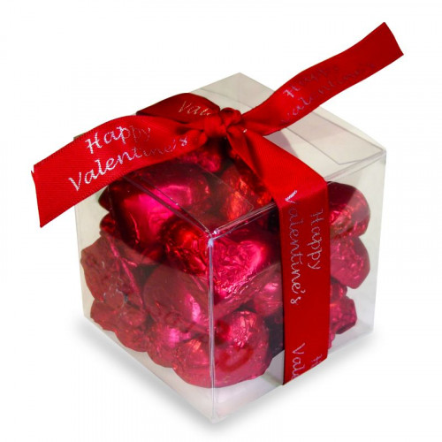 Valentine - Red Foiled Milk Chocolate Hearts Presented in a PVC Cube Finished with a Red Happy Valentine Ribbon 120g