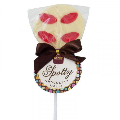Hames - Luxury Spotty Lollies White Chocolate Lollipops Decorated with Juicy Lips  x Outer of 18
