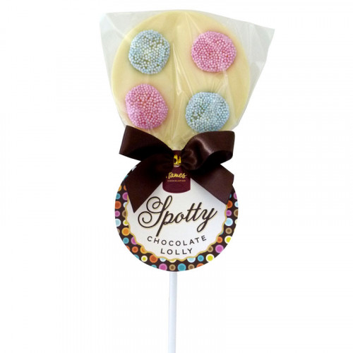 Hames - Luxury Spotty Lollies White Chocolate Lollipops Decorated with Spogs