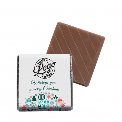 Promotional Milk Chocolate Neapolitan Wrapped in Silver Foil Finished with Contemporary Christmas Wishes Wrapper