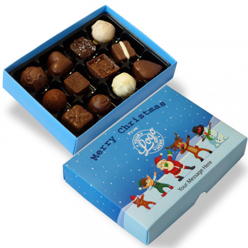 Promotional 12 Chocolate Assortment Presented in a Funny Dabbing Christmas Characters Box