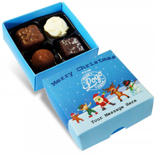 Promotional 4 Chocolate Assortment Presented in a Funny Dabbing Christmas Characters Box