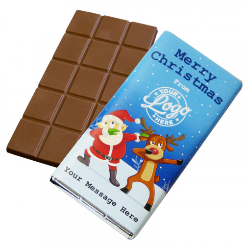 Promotional Milk Chocolate 80g Bar Wrapped in Silver Foil Finished with Funny Dabbing Christmas Characters Wrapper