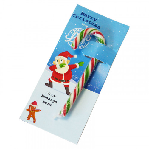 Promotional Red, White & Green Candy Cane Presented On a Funny Dabbing Christmas Characters Insert Card x 1 Only