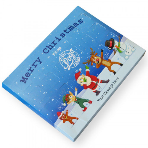 Promotional Desktop Milk Chocolate (Foiled Tray) Advent Calendar with Funny Dabbing Christmas Characters - 48g