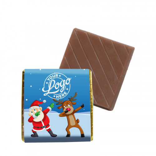 Promotional Milk Chocolate Neapolitan Wrapped in Silver Foil Finished with Funny Dabbing Christmas Characters Wrapper