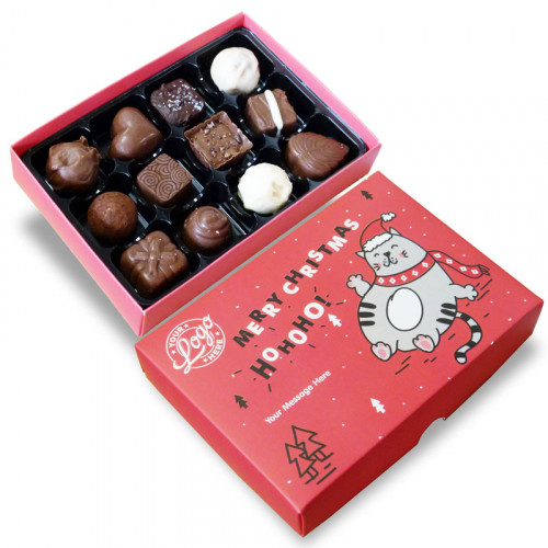 Promotional 12 Chocolate Assortment Presented in a Ho-Ho-Ho! Christmas Fat Cat Box