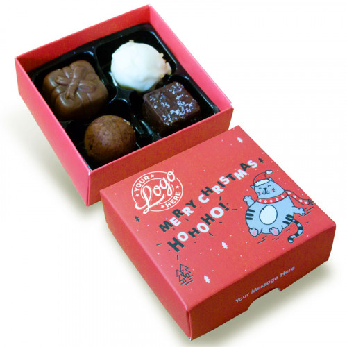 Promotional 4 Chocolate Assortment Presented in a Ho-Ho-Ho! Christmas Fat Cat Box